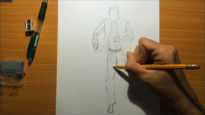 how to draw a running man