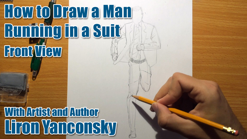 How to Draw a Running Man in a Suit