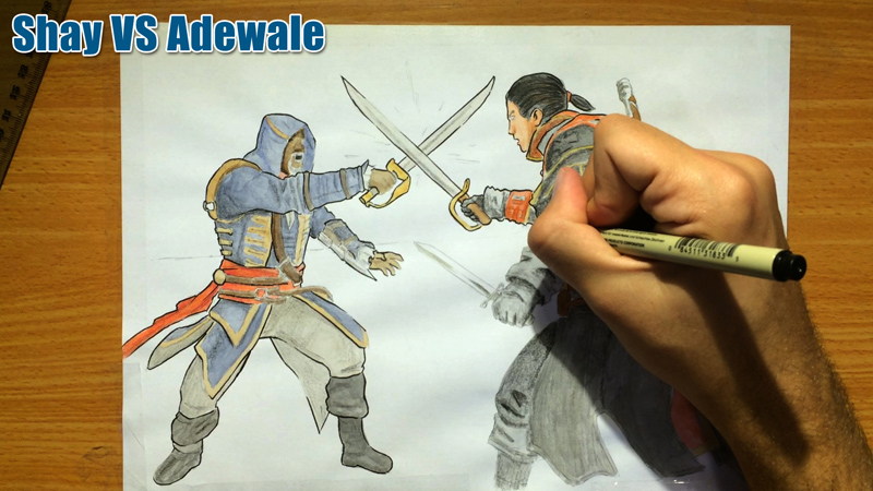 How to Draw Shay Cormac VS Adewale (AC Rogue)