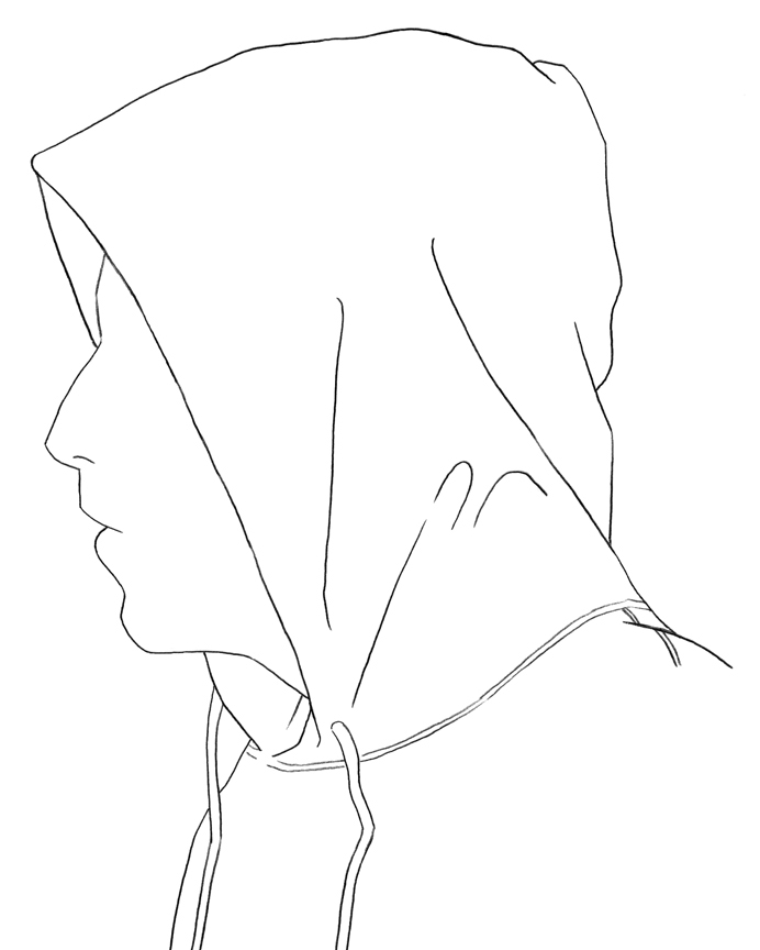 It is a graphic of Delicate Guy In Hoodie Drawing